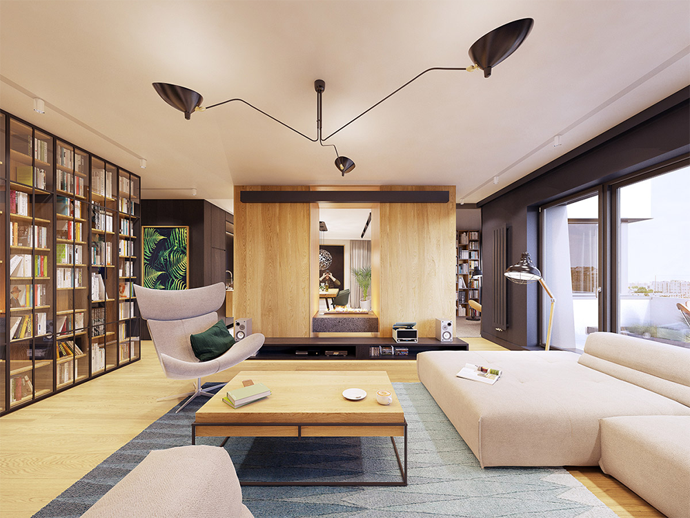 Nội thất căn hộ hiện đại 136m2 tông màu xám chủ đạo