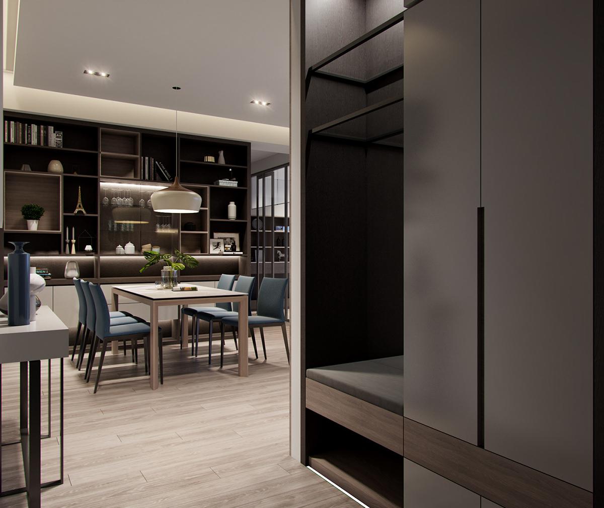Nội thất căn hộ 80m² có 2 phòng ngủ vừa gọn đẹp lại vừa sang